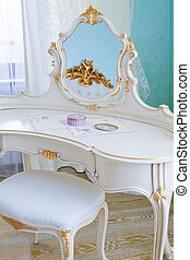 dressing table - white dressing table in a modern bedroom