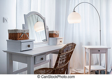 White dressing table in apartment - Beautiful white dressing...