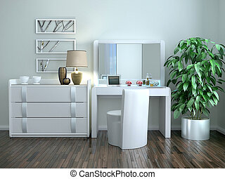White dressing table with a chest of drawers in the interior in the Art Nouveau style. 3d illustration