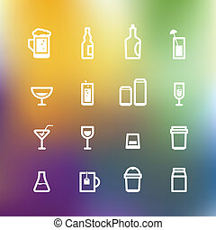White drink icons clip-art on color background. Design elements