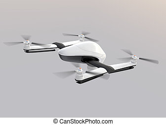 White drone flying in the sky