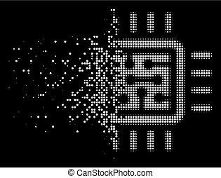 White Dust Pixel Halftone CPU Circuit Icon