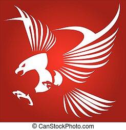 White eagle, hawk, falcon. - White eagle isolated on red...