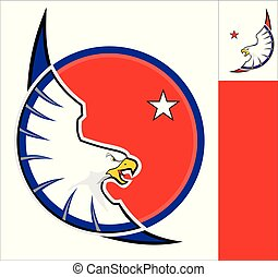 white eagle on red circle