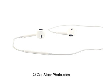White earphones isolated on white b