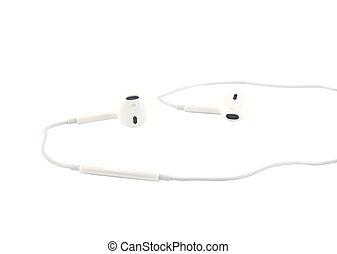 White earphones isolated on white b
