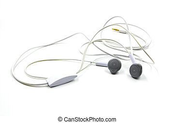 White earphones isolated on white background