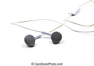 White earphones isolated on white background