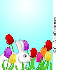 White Easter Bunny Amongst Colorful Tulips