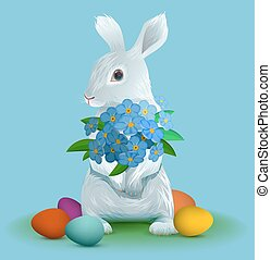 White easter bunny holding bouquet flowers