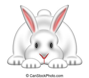 White Easter Bunny Isolated White Background - White Easter...