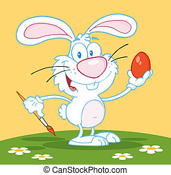 White Easter Bunny Painting An Egg
