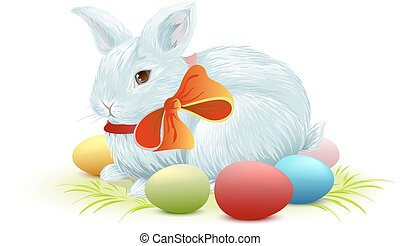 Bunny and colored Easter eggs