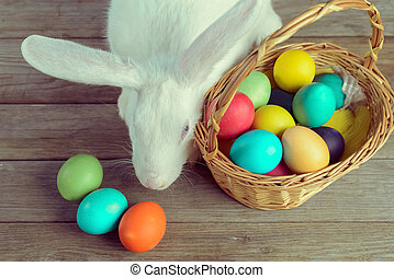 White Easter bunny with basket of colored eggs on wooden...