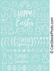 White Easter doodles, vector set