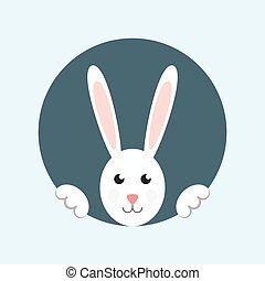 White easter rabbit. Easter rabbit card. Easter rabbit...