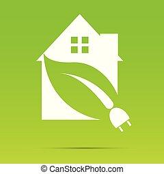 White Eco House on greenbackground or Logo power plug nature White. vector illustrations