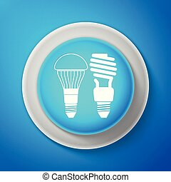 White Economical LED illuminated lightbulb and fluorescent light bulb icon isolated on blue background. Save energy lamp. Circle blue button with white line. Vector Illustration