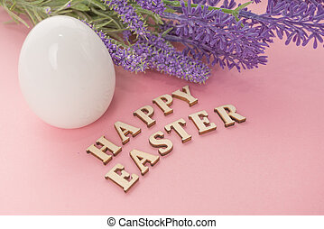 white egg for easter. happy easter