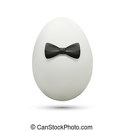 White egg with bow tie.