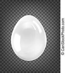 White egg with glossy shine isolated on black transparent background.