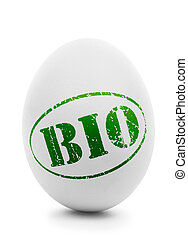 White egg with grunge label BIO isolated