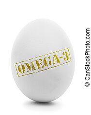 White egg with grunge label Omega-3 isolated