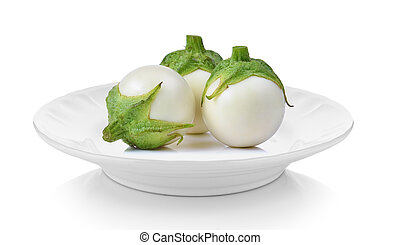 White eggplant in plate on white background