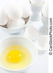 White Eggs and Yellow Egg Yolk