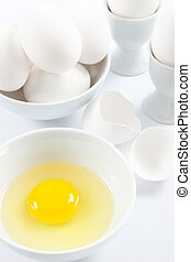 White Eggs and Yellow Egg Yolk - Eggs are a healthy food and...
