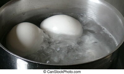 White eggs - cooked in a saucepan