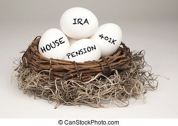 White eggs in a brown nest labelled with IRA, Pension, 401k...