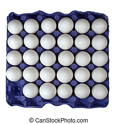 White eggs in carton on white background