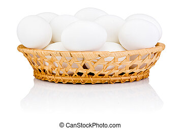 White eggs in the basket isolated on a white background