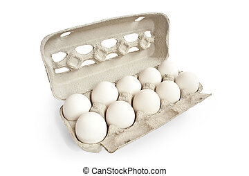 white eggs with carton box