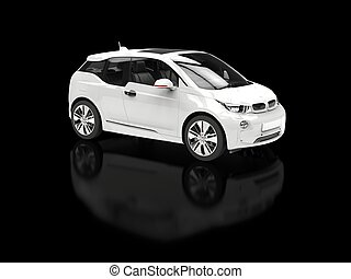 White electric car on black reflective background