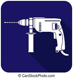 White electric drill icon on a blue background