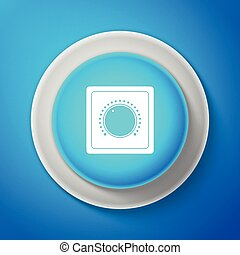 White Electric light switch icon isolated on blue background. On and Off icon. Dimmer light switch sign. Concept of energy saving. Circle blue button with white line. Vector illustration