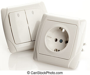 Socket and Switch - White Electric Socket and Switch on...