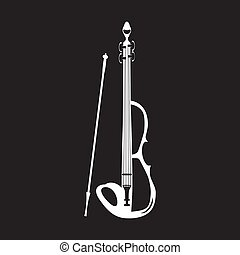 White electric violin with bow, vector illustration