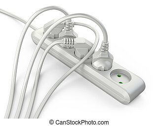 White electrical extension strip cord with connected power plugs.