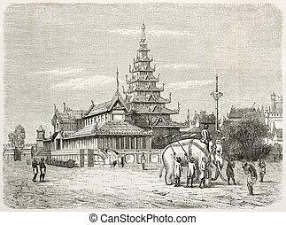 White elephant in Amarapura and royal palace (then...