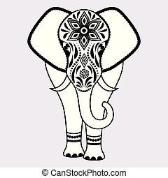 elephant with abstract flowers