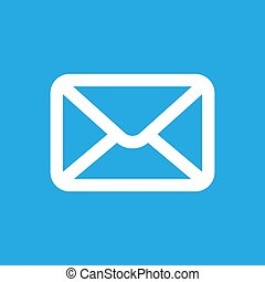 white email button icon on a blue background