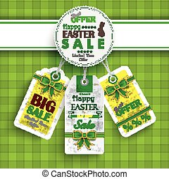 White Emblem Easter Price Stickers Tablecloth