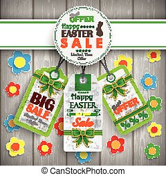 White Emblem Easter Price Stickers Wooden Wall Flowers