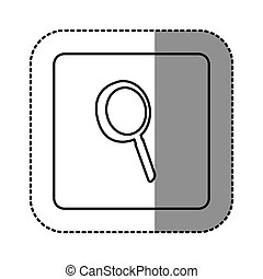 white emblem magnifying glass icon