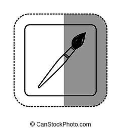 white emblem paint brush icon