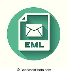 White EML file document icon. Download eml button icon isolated with long shadow. EML file symbol. Green circle button. Vector Illustration