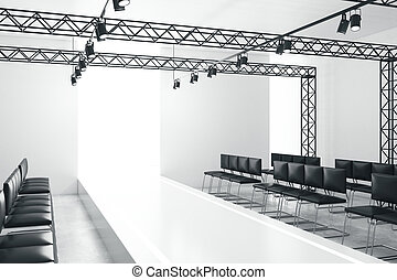 White empty fashion runway